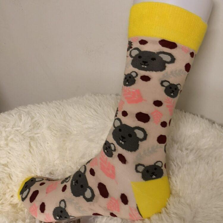 Fargerik sokk med rotteansikt